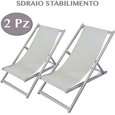 Sedie Sdraio Per Piscina.2 Sedie Sdraio Da Giardino Bianche In Alluminio Arredo