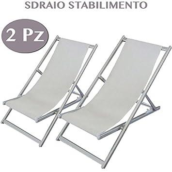 2 Sillas tumbonas de jardín blancas de aluminio Muebles ...