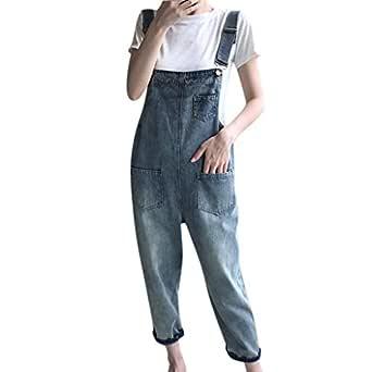 STRIR Mujer Pantalon Mono Peto Vaquero Largo Pantalones Jeans ...