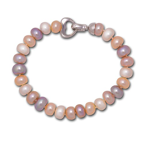 Love Sterling Silver Multicolored Pastel Freshwater Cultured Pearl Bracelet(8-8.5mm),7.5