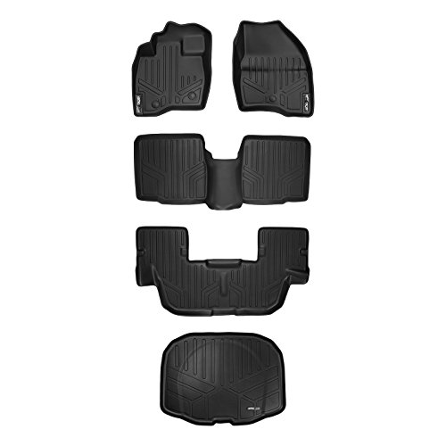MAXLINER Custom Fit Floor Mats 3 Rows and Cargo Liner Set Black for 2017-2019 Ford Explorer without 2nd Row Center Console
