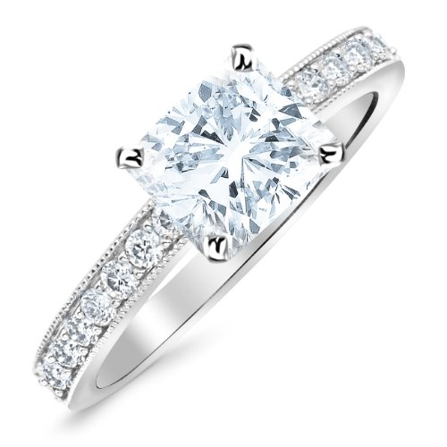 White Gold 14K White Gold Classic Side Stone Pave Set With Milgrain Diamond Engagement Ring with a 0.45 Carat GIA Certified Cushion Cut E Color VS1 Clarity Center Stone Cushion Diamond Engagement Solitaire Ring