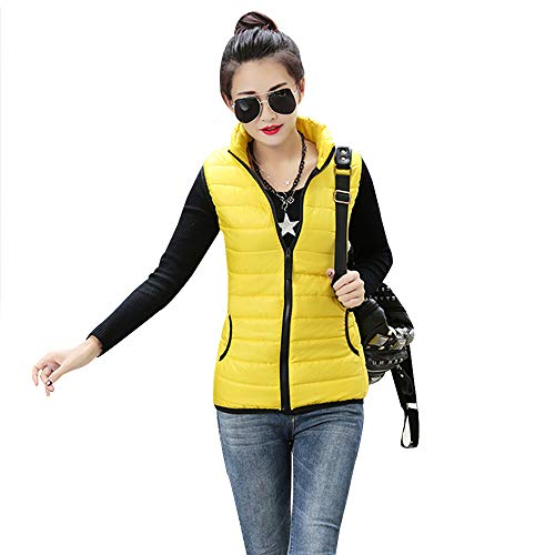 YIHIGH Womens Down Gilet Jacket Coat - Solid Color Body Warmers Stand Collar Vest Jacket Zip Up Vest Yellow
