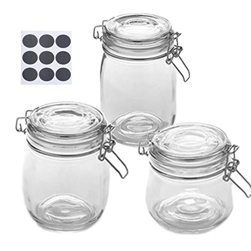 Glass Jars with Airtight Rubber Gasket and Hinged Lid (16, 26, 35 oz.) & 18-Pack of Labels (Set of 3) Container