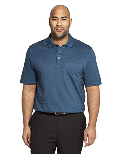 (Van Heusen Men's Flex Short Sleeve Stretch Stripe Polo Shirt, Turquoise Seabed, Medium)
