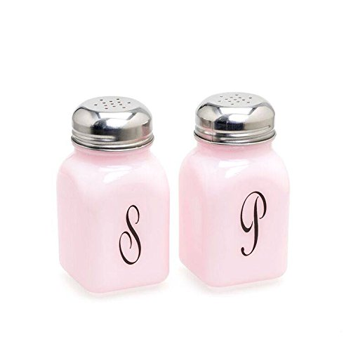 (Pink Milk Glass Oversized Squared Salt & Pepper Set With Metal Lids )