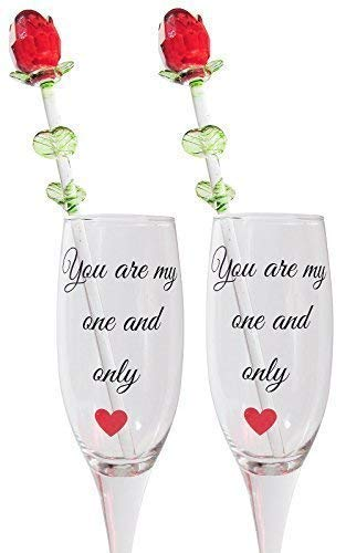 (His and Her Champagne Glass Set - 2 Champagne Glasses with 2 Red Crystal Roses - You are my One and Only Wedding Toasting Flutes- Wedding Bride Groom Gift)