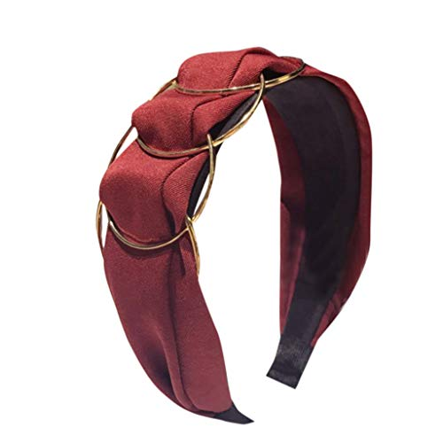 Fashionhe Golden Ring Cross Stitching Hair Accessories Fabric Wide-Brimmed Headband Ladies Head Hoop(Red)