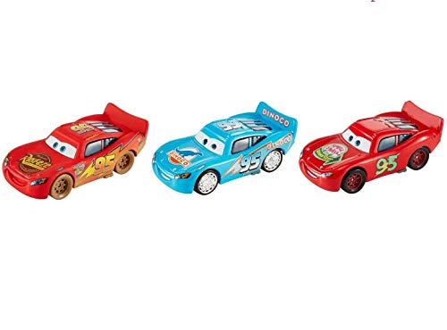 Cars Collection of 3 Diecast Lightning McQueen Bling Bling Blue Dinoco Dinosaur Logo, Dirt Track, Smell Swell Disney Pixar Die Cast Set 1:55 - Set 55 Car Diecast