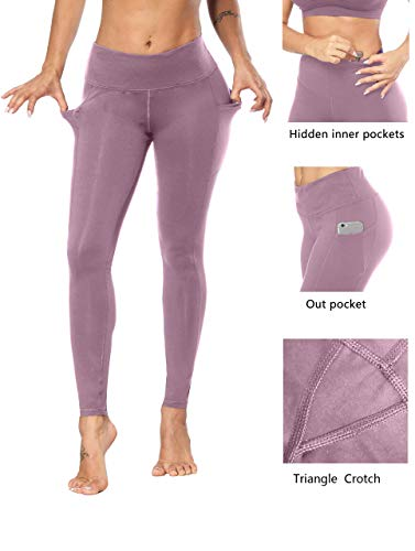 Fengbay High Waist Yoga Pants, Pocket Yoga Pants Tummy Control Workout Running 4 Way Stretch Yoga Leggings Lilac by Fengbay (Image #2)