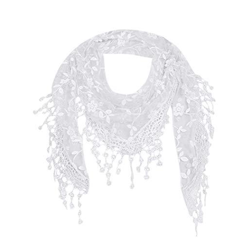 HYIRI Women Lace Sheer Floral Scarf Shawl Wrap Tassel Scarf -