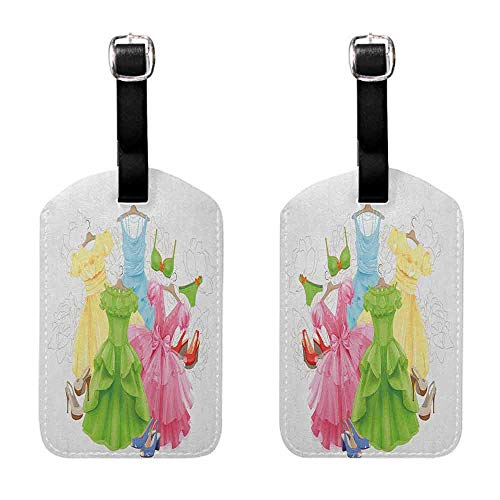 Instrument Tag Heels and Dresses,Princess Outfits Bikini Shoes Wardrobe Party Costumes in Girls Design, Multicolor Getaway Luggage Tag