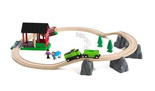 BRIO Countryside Horse Train and Track Set with Shed by BRIO