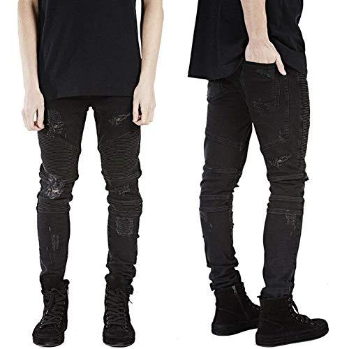Denim Nero Da Uomo Strappati Mode Aderenti Skinny In Pantaloni Bolawoo Moto Lavati Spiegazzato Buco Marca Con Di Jeans Vintage wqI54EU