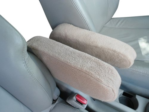 Chevy Avalanche 2002-2015 Truck SUV Auto Armrest Covers - Protect Fold Down Armrest with Fleece Fabric - One PAIR - Large - Tan