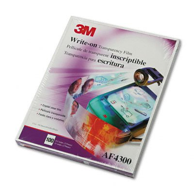 3M : Write-On Transparency Film, Letter, Clear, 100