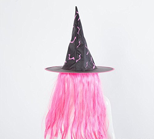 Amazon.com: KEANER Special Party Decor Halloween Wig Witch Hat Performance Props Cosplay Hat_Pink: Toys & Games