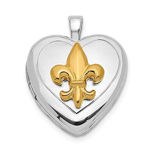 (925 Sterling Silver Rhodium-plated & Gold Tone Fleur De Lis Locket Pendant)