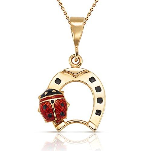 (Jewel Connection Shimmering Horseshoe Red and Black Enamel Ladybug Pendant Necklace with 18