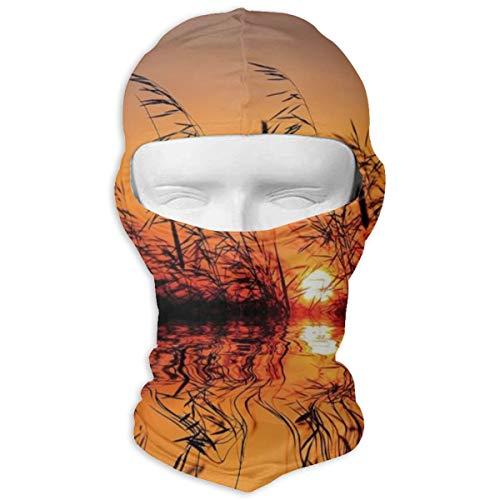 Xuforget Nature Decor Lake Sunset Mens & Women Balaclavas Full Face Mask Hood White