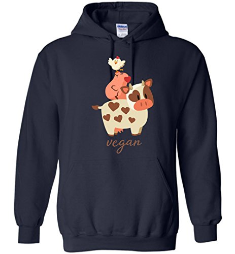 Happy Cow, Pig, and Chicken - Vegan Hoodie