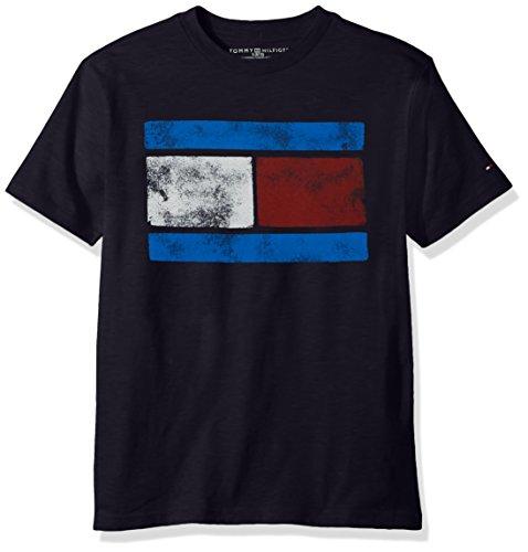 Tommy Hilfiger Boys' Big Short Sleeve Flag T-Shirt, The Swim Navy, XL by Tommy Hilfiger