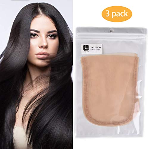 3PCS Swiss Lace Net Material Lace Closure Base 4x4inch Light Brown Color Wig Caps for Making Closure