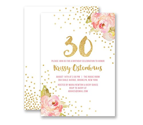 Birthday Invitations Pink & Gold Glitter Look Any Age Personalized Boutique Invites with Envelopes- Krissy -