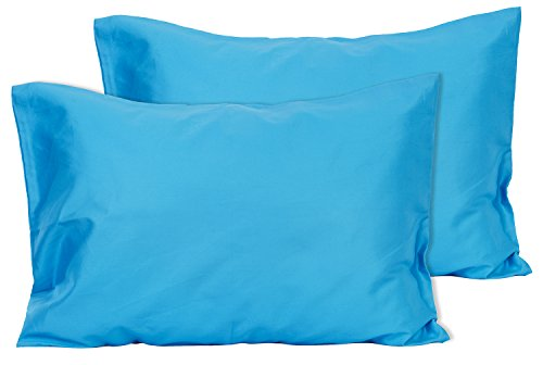 2 Dark Turquoise Toddler Pillowcases - Envelope Style - For Pillows Sized 13x18 and 14x19 - 100% Cotton With Sateen Weave - Machine Washable - 2 ()