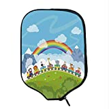 YOLIYANA Nursery Durable Racket Cover,Cartoon Railway Train with Various Animals and a Rainbow Mountains Clouds Trees for Sandbeach,One Size