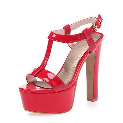 Leather Toe Sandals Womens Heels Open Amoonyfashion Solid High Patent Buckle Red fTBxga