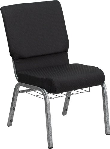Flash Furniture HERCULES Series 18.5''W Church Chair in Black Patterned Fabric with Cup Book Rack - Silver Vein Frame