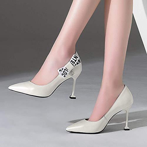 Mujeres color Tacón Cortos Alto Verano Cuero Zapatos Jincosua Con Tamaño 34 Blanco De Para zAqnUX1