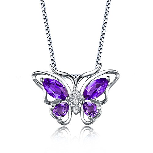 Aurora Tears Created-Amethyst Butterfly Pendant Necklace Chain, 18