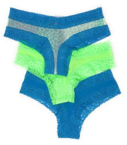 Victoria's Secret Lace Cheeky Panty Set of 3 Small Aqua Leo/Bright Green/Bright Aqua ()