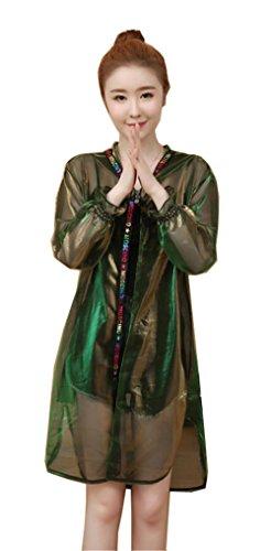 [ベィジャン] レディース カーディガン UVカット パーカー フード付 薄手 春夏秋 長袖 日焼け止 冷房対策 キラキラ ゆったり オーバーウェア グリーンL