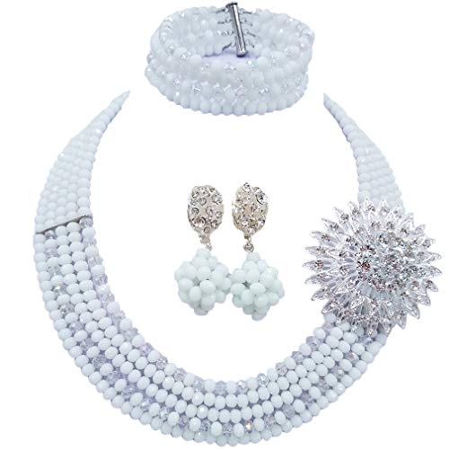 aczuv 5 Rows Nigerian Beaded Jewelry Set Women African Wedding Beads Crystal Necklace and Earrings (White and Transparent)
