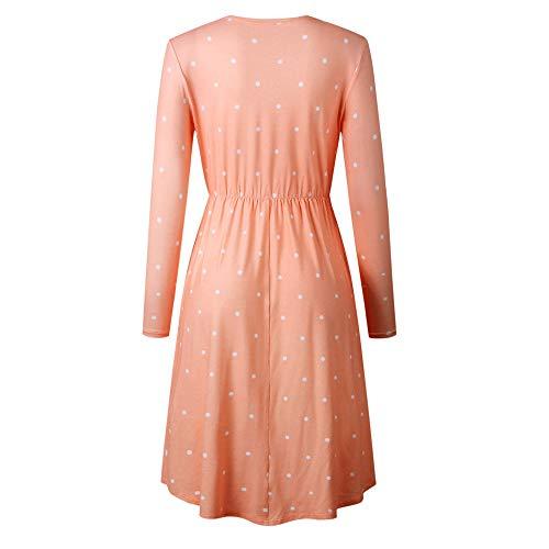 JESPER Women Swing Casual Dot Printing Round Neck Dress Long Sleeve Evening Party Dress Orange by JESPER (Image #1)
