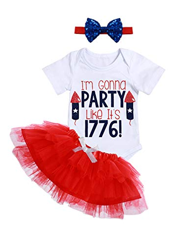 (My 1st 4th of July Baby Girl Outfit Short Sleeve Bodysuit Tutu Skirt Independence Day 2PCS Clothes Set 0-3Months)