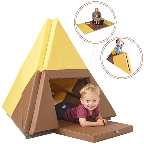 (ECR4Kids Tent Canoe and Tumbler Too - Unique Transforming Activity Play Mat for Toddlers and Kids, Chocolate/Yellow)