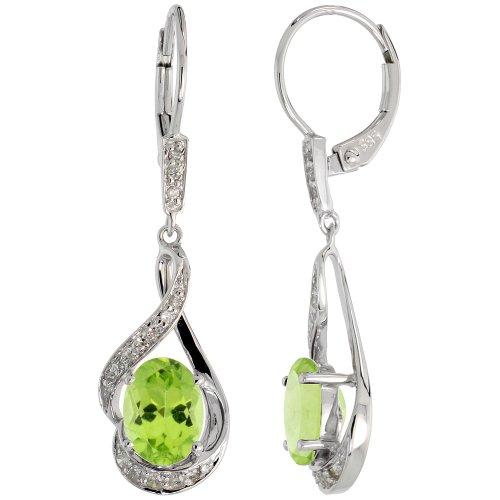 Boucles d'oreilles en or blanc 14carats (19mm de haut) et 18en. pendant-necklace Lot, W/0,20carat Taille brillant diamant et 3,64Cts Coupe ovale (7x 7x 5mm) Peridot pierres