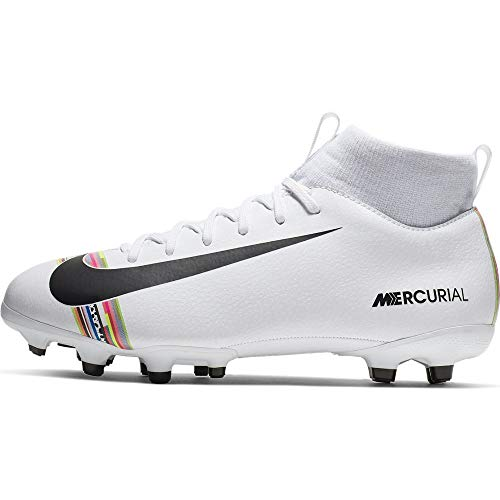 Nike Kids SuperFly 6 Academy GS FG/MG (4.5, White/Black/Pure Platinum)