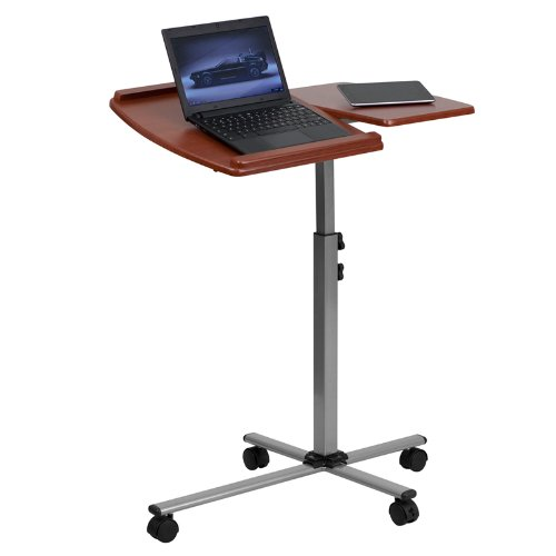 Angle and Height Adjustable Mobile Laptop Computer Table with Cherry Top by Belncik