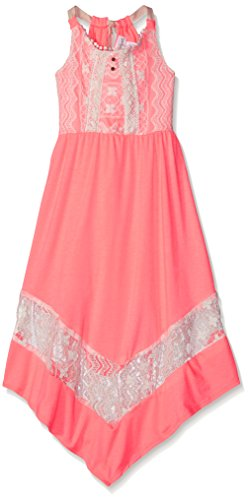 [Emily West Big Girls Neon Coral Knit Fashion Dress with Ivory Crochet Trim, Neon Coral/Ivory, 7] (Neon Party Dresses)