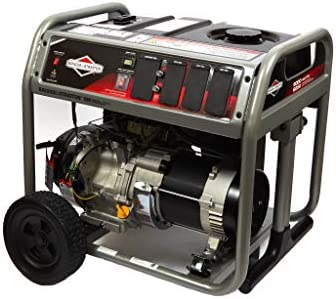Briggs Stratton 30713 120 240V Gas Powered 5000 Watt Emergency Backup Portable Generator with Wheels 12 Hour Run Time