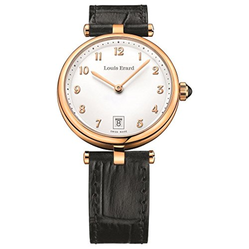 Louis Erard Women's Romance 33mm Black Leather Band Rose Gold Plated Case Quartz Watch 11810PR40.BRCB5