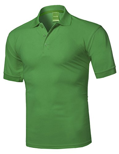 Youstar Solid Dri-Fit Active Athletic Golf Short Sleeves Polo Shirt Olive 2XL