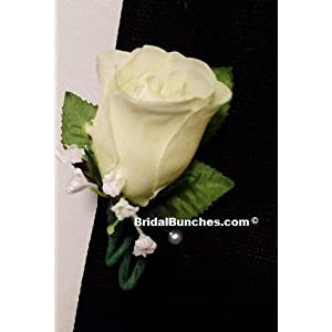Bridal Bunches Ivory Boutonniere Prom Or Wedding Flowers Boutonnieres 109
