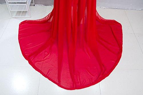 Maternidad Chiffon Fotografía Apoyos Vestido largo Split Vista delantera mujeres embarazadas con ropa interior 2pcs Set Rojo