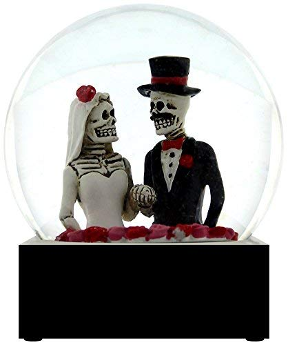 YTC Black and White Day of The Dead Bride and Groom Decorative Water Globe]()